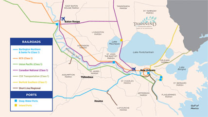 Tamanend Rail and Port map