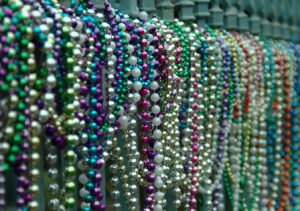 mardi gras beads lined up